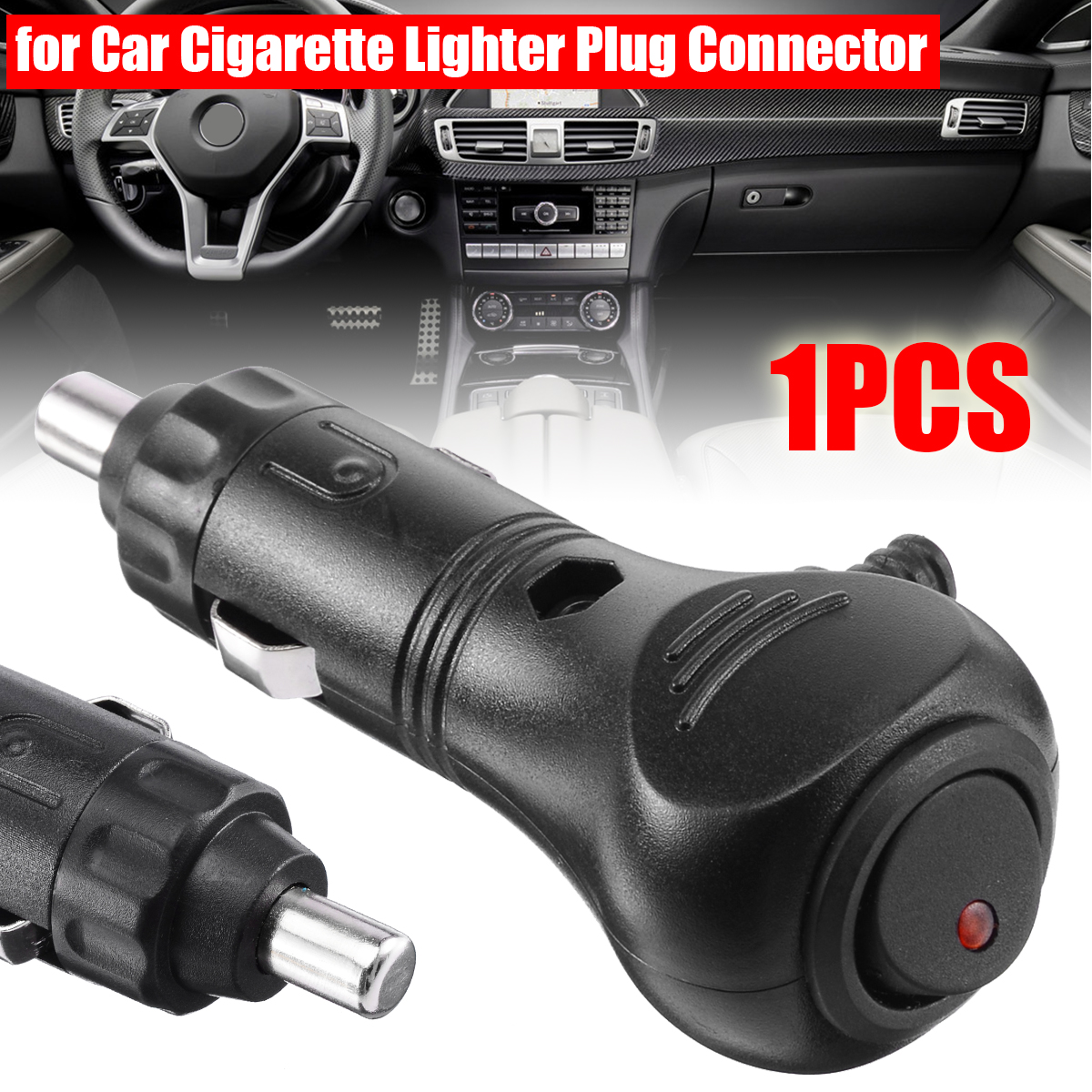 Auto Car 12//24V Male Cigaret Lighter Socket Plug Connector With 10A Fuse LED
