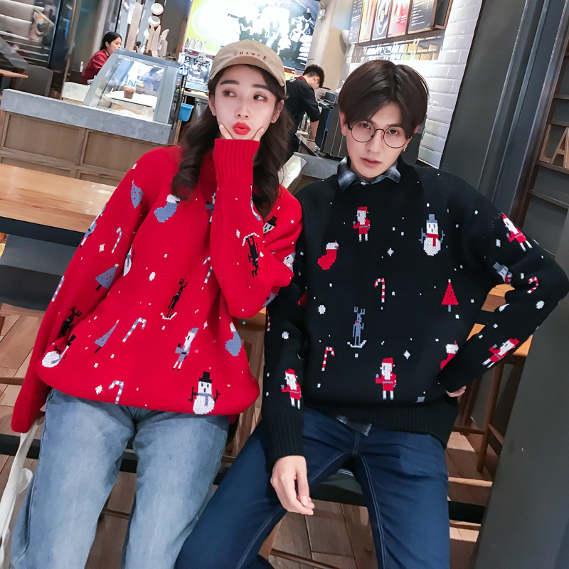 Couple Sweater Winter Clothes Women Men Christmas Costume Casual O-Neck Pullovers Red Black Long Sleeve Korean Sweater 2020new