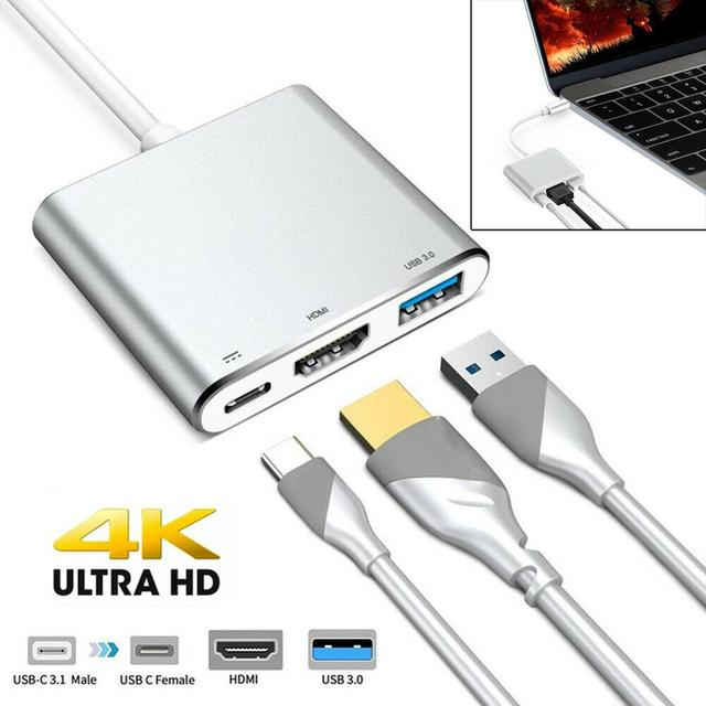 Type C USB 3.1 to USB C 4K HDMI USB 3.0 Adapter Cable 3 in 1 Hub For Macbook Pro