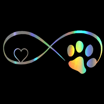 Car Sticker Vinyl 18*8CM Dog Cat Paw Love Car Window  Stickers and Decals Funny 3D Stickers On Car Styling Creative недорого