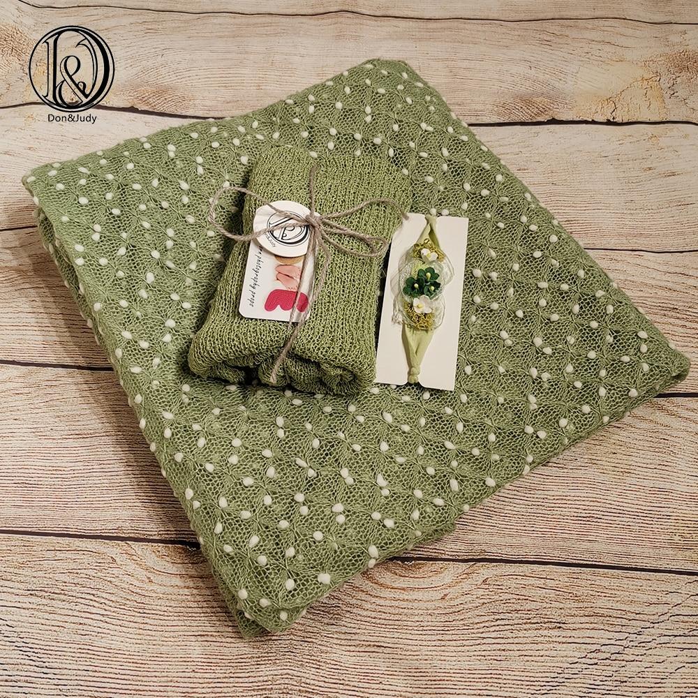 Don&Judy Newborn Stretch Wrap+Backdrop Blanket+Headband 3pcs Set Fotografia Studio Shoots Photo Props Newborn Shower Gift