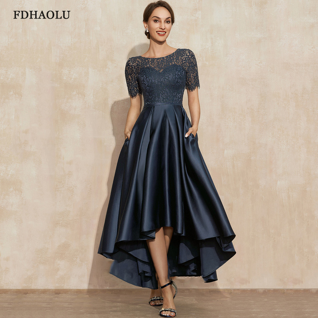 AE09 Navy Blue Satin Prom Dresses O-Neck Lace Short Sleeve Asymmetrical Sexy Party Gowns Vestidos Largos 1