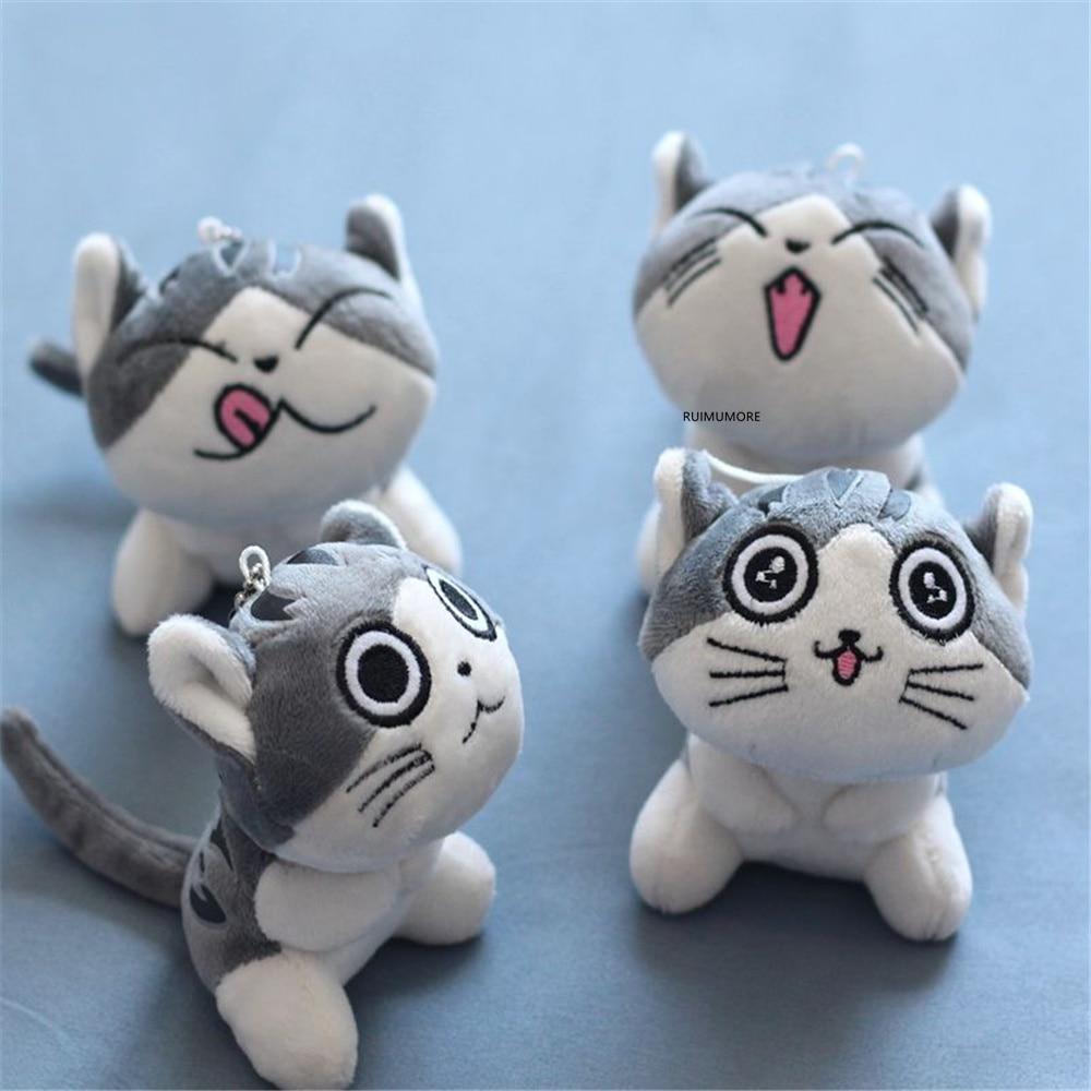 4 tasarımlar, 9CM yaklaşık, kedi peluş doldurulmuş bebek; Anahtar halkalı anahtarlık hediye oyuncak