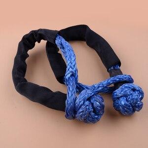 Image 1 - 2 stücke Blau Nylon Flexible Synthetische 35000LB 16T Weiche Schäkel Winde Seil Abschleppen Recovery Straps