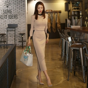 Image 1 - 2020 New spring Autumn Knitted two Piece Set Women Outfits Sweaters pullover Tops + high waist Long Skirt set ensemble femme