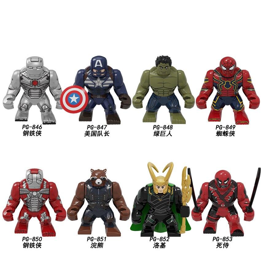 KOPF Super Heroes Characters Figures Captain American Spider-man Iron Man Green Giant Building Blocks Bricks For Children Toys