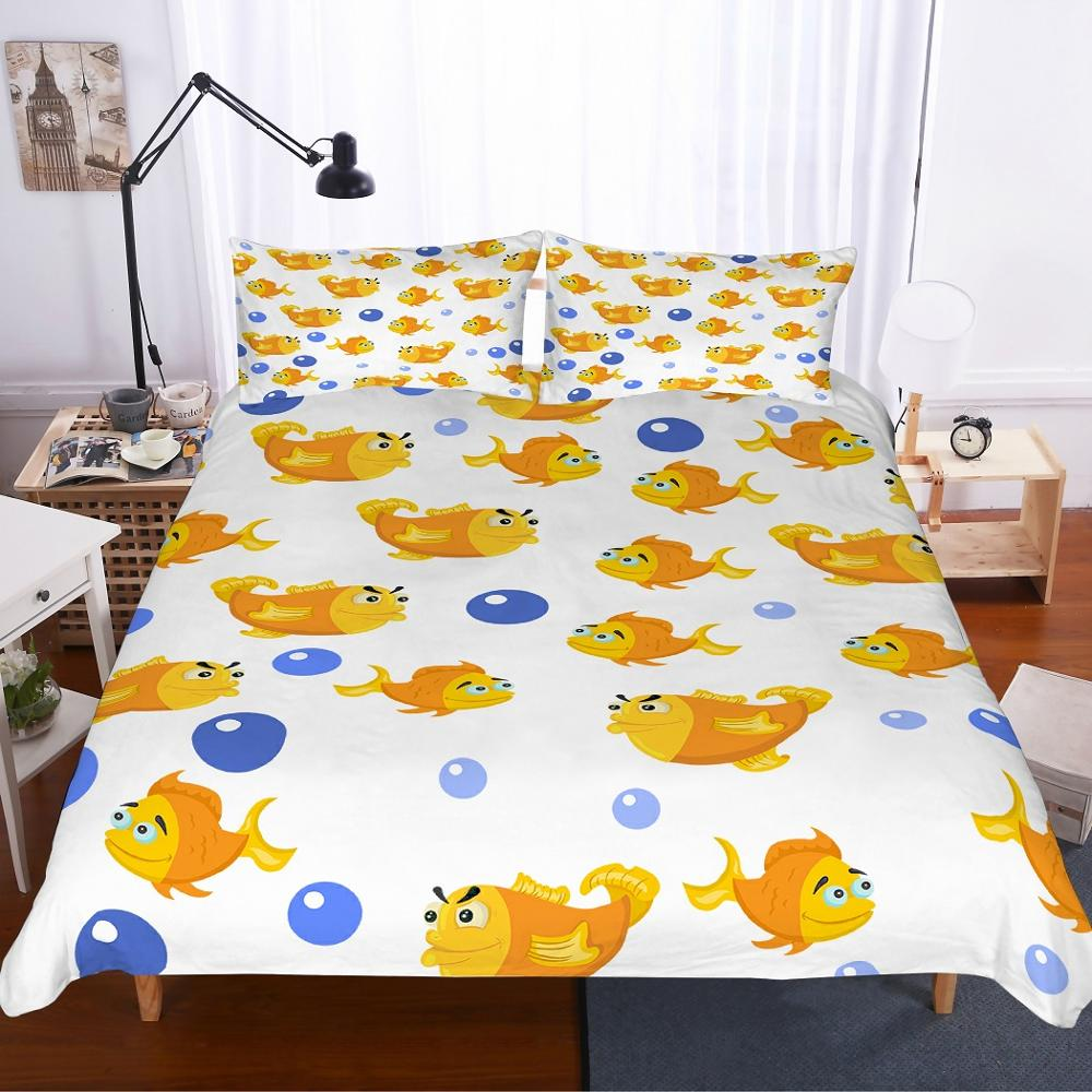 Underwater World Animal Bedding Set Fish 3D Printed  Microfiber Bed Linen With Pillowcase Set 2/3pcs Boys Home Bedclothes