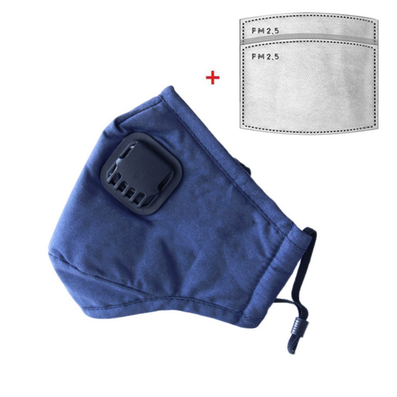 Fashion PPE Anti-virus Mask With Valve Reusable Cotton Mouth Face Mask Cover Respirator Anti-Dust + 2 PM2.5 Mask Filters