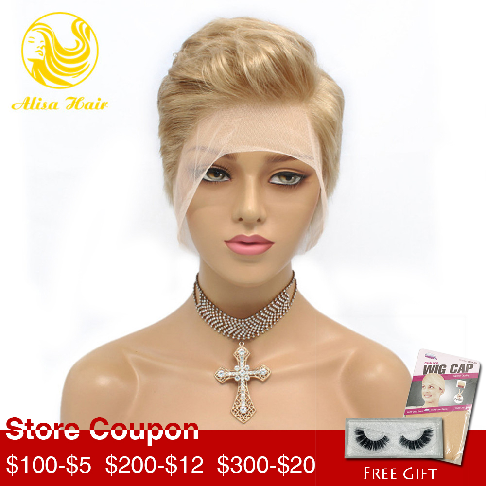 Alisa Hair Pixie Cut Short Bob Lace Front Human Hair Wigs Blonde #613 Side Part Virgin Brazilian Wigs For Black Women