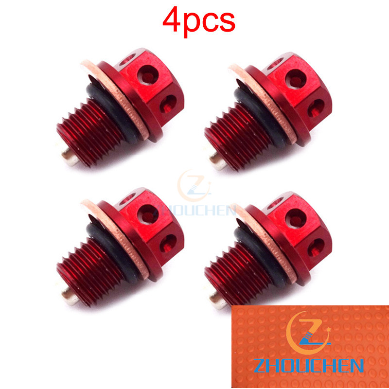 4pcs M12x1.5 Red Oil Magnetic Drain Bolt Plug For Chinese <font><b>Engine</b></font> 50cc-<font><b>160cc</b></font> <font><b>Lifan</b></font> YX Loncin Pit Dirt Bike image