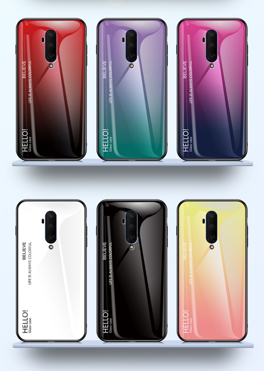 Colorful Gradient Tempered <font><b>Glass</b></font> phone <font><b>Case</b></font> For <font><b>Oneplus</b></font> 6 5 <font><b>5T</b></font> 6T Protective <font><b>Case</b></font> For 7 7T Pro Back Cover Protective <font><b>Case</b></font> Fundas image