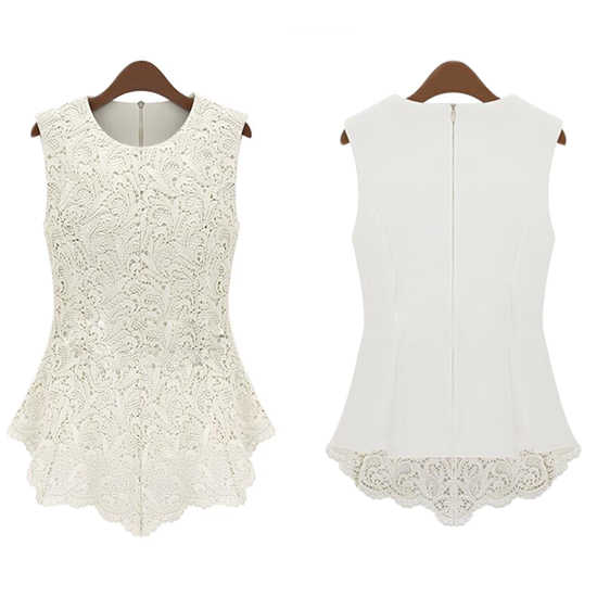 Ladies Fashion Popular Solid Soft Sexy Shirt Vest Chiffon Women Girls High Quality Lace Round Neck Doll Sleeveless Casual Tops
