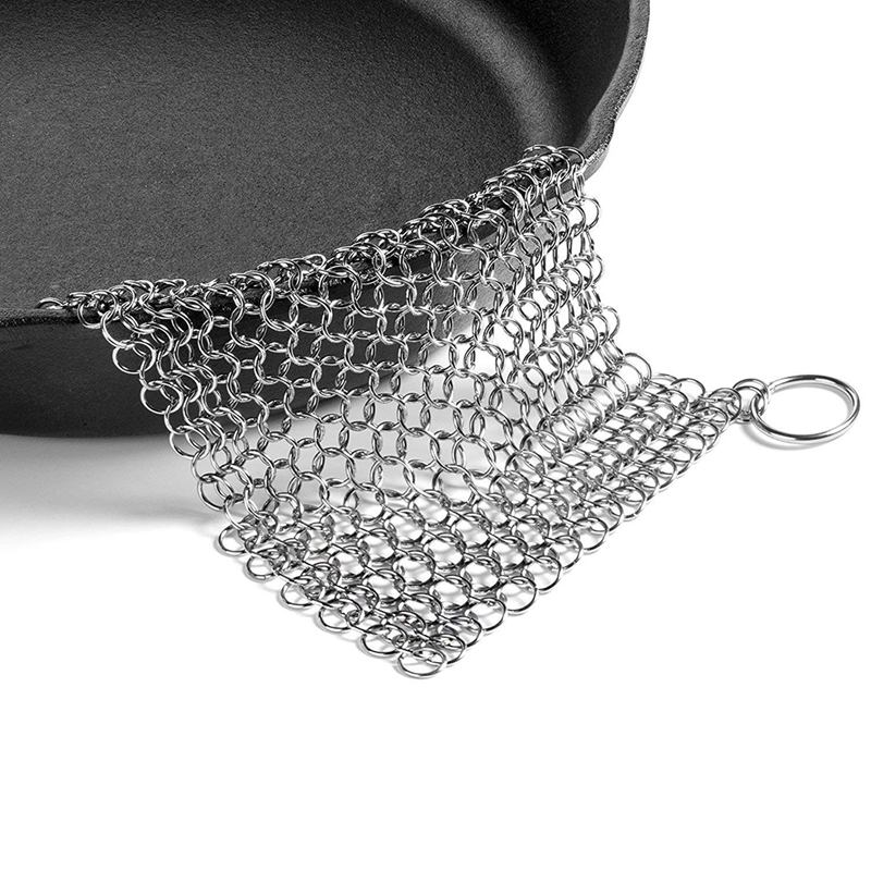 Hot Sale Cast Iron Cleaner  Premium 316 Stainless Steel Chainmail Scrubber   8x6 Inch|Cleaning Cloths| |  - title=