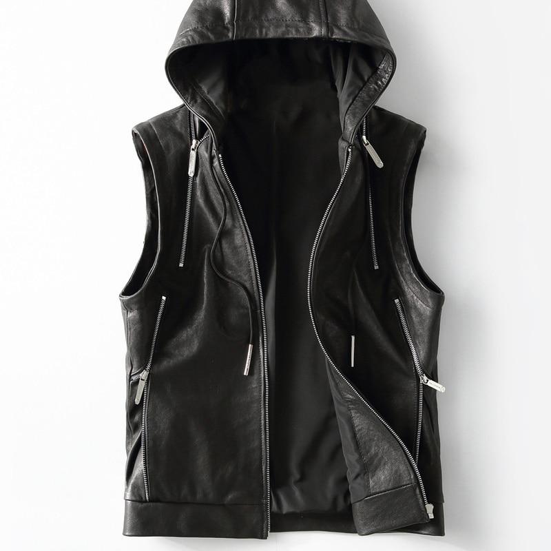 2020 New Leather Vest Hooded Genuine Leather Jacket Men Sheepskin Coat Casual Mens Vests Vintage Colete Masculino KFS19M014