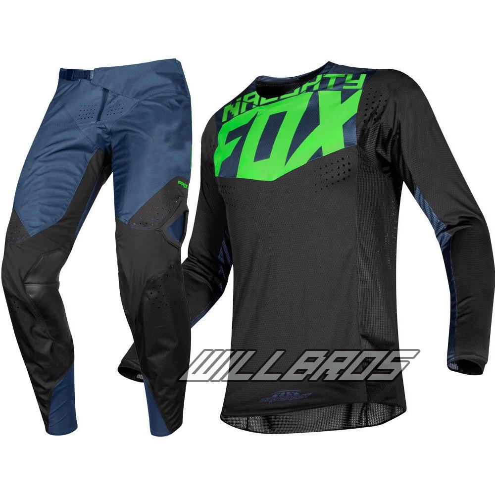 2019 Delicate Fox Motorbike MX 360 Kila Jersey Pants Motocross MTB ATV Adult Racing Gear Set Black Suit