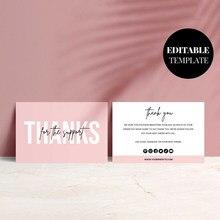 Tarjeta de agradecimiento personalizada para compras, paquete de regalo para tienda pequeña, color rosa, 200