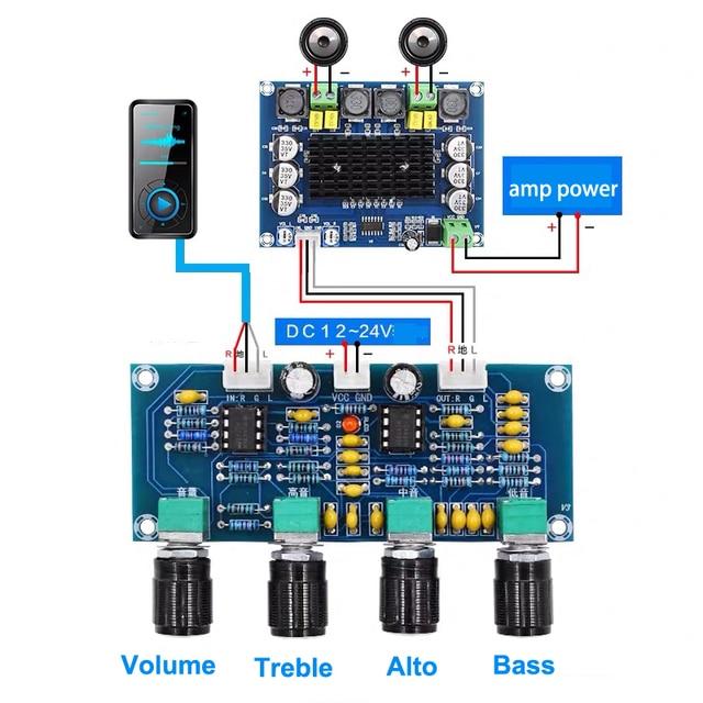 Dual NE5532 Repalceable tone Preamp Board Audio treble bass adjustment equalizer Pre amplifier Tone Control Preamplifier