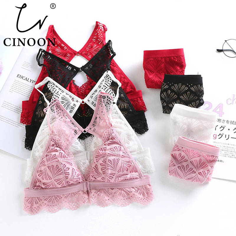 CINOON Sexy Lingerie Set Beautiful back brassiere Front Button Women underwear New bra and panties set Embroidery