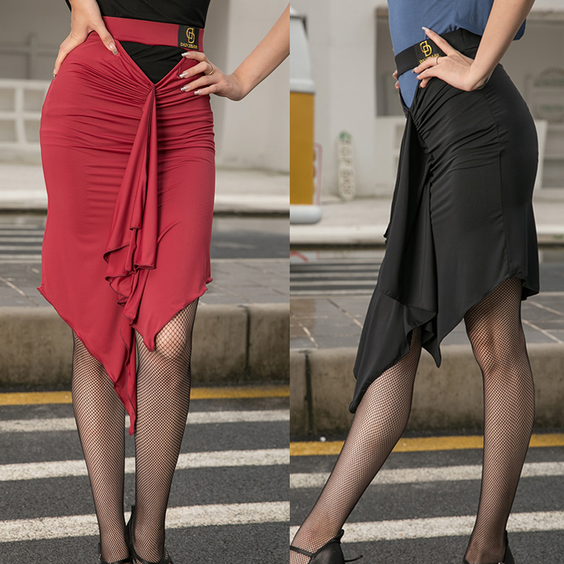 New Arrival Latin Dance Clothes Women Falda Flecos Red Dance Skirt Dancing Outfit Latin Dress Adult ChaCha Rumba Skirt BL2260