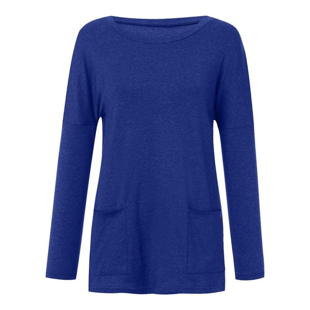 Womens Solid Warm Long Sleeve Sweatshirt Loose Pocket Daily Pullover Tops #4O08 (15)