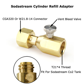NEW SodaStream CO2 Cylinder Tank Refill Adaptor With Bleed Valve Fit W21.8-14(DIN 477) Or CGA320 Connector