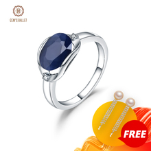 GEMS BALLET New 3.24Ct Natural Blue Sapphire Rings Real 925 Sterling Silver Classic Oval Ring For Women Anniversary Fine Gift