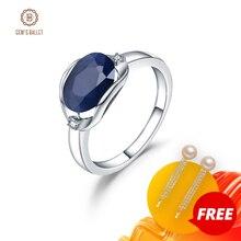 GEMS bale yeni 3.24Ct doğal mavi safir yüzük gerçek 925 ayar gümüş klasik Oval yüzük kadınlar için yıldönümü güzel hediye