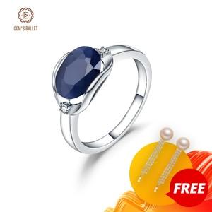 Image 1 - GEMS balet nowy 3.24Ct naturalny błękitny szafir pierścienie prawdziwe 925 Sterling Silver klasyczny owalny pierścień dla kobiet rocznica fajny prezent