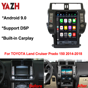 "YAZH 4GB Android 9.0 Car Radio Multimedia For TOYOTA Land Cruiser Prado 150 2014 2015 2016 2017 2018 With 13.6""IPS 4K Display"