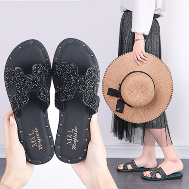 Slippers women 2020 new summer slippers women summer fashion wear flat beach shoes word sandals women