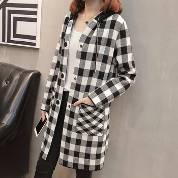 Women Hooded Jackets White Green Red Orange Plaid Pattern Knitted Outerwear Female Casual Single Breasted Hood Coat Autumn Spring