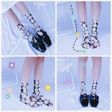 Women Midi Socks Spring Summer cute thin breathable socks Floral Print Female Sock