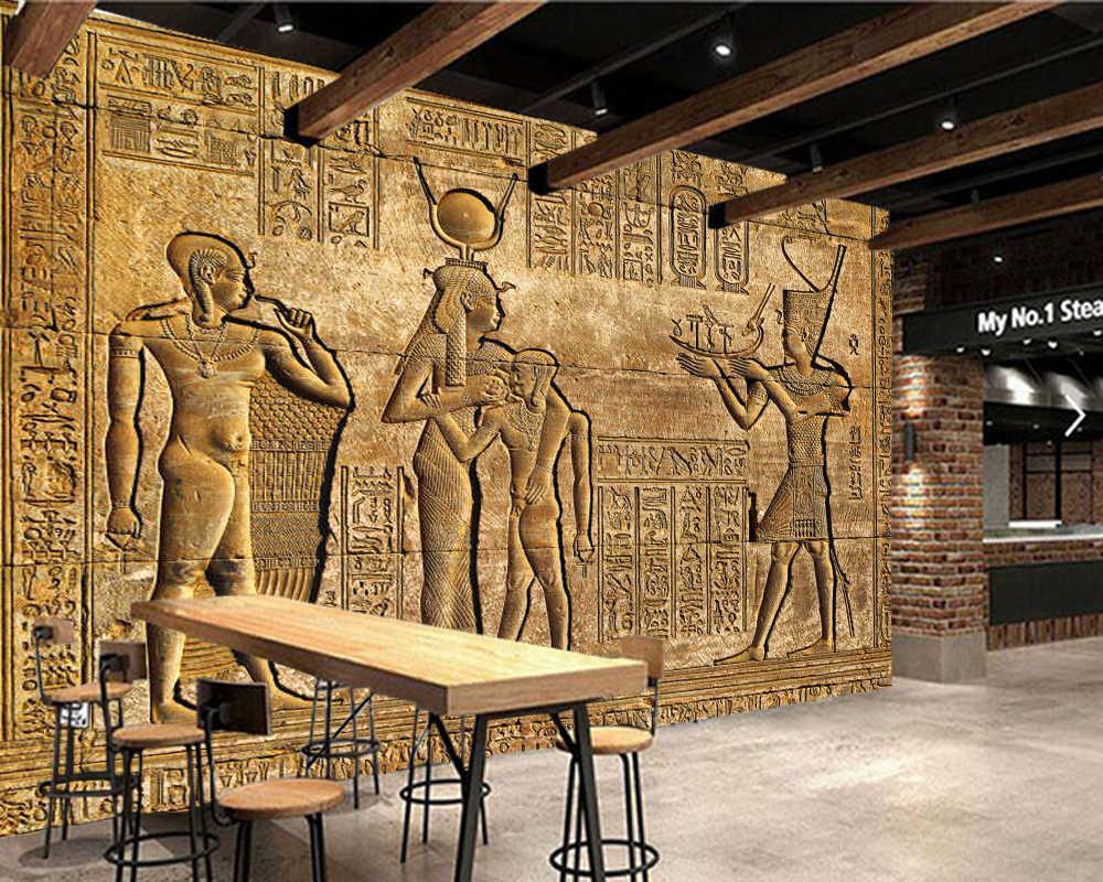ภาพจิตรกรรมฝาผนังด้านนอกกำแพงโบราณอียิปต์วัด papel de parede, ห้องนั่งเล่นโซฟาทีวีผนังห้องนอนร้านอาหาร mural