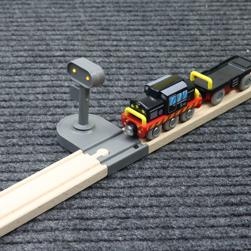 Luminescent straight track compatible wooden track car wooden small train building blocks accessories children toys