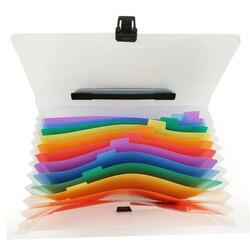 Папка для файлов A4, водонепроницаемая резиновая ручка, прозрачные папки для файлов, 13 карманов, портативная деловая папка, держатель для док...