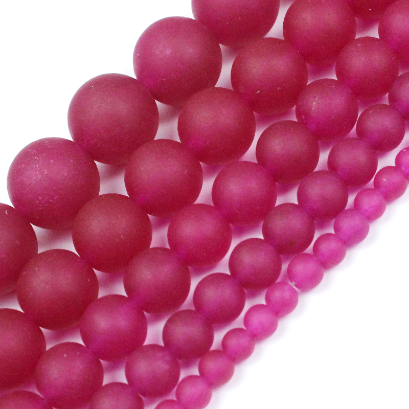 Natural Stone Matte Rose Red Chalcedony  Beads  Round Loose Spacer Beads 4/6/8/10/12MM For Jewelry Making Fit DIY Bracelet