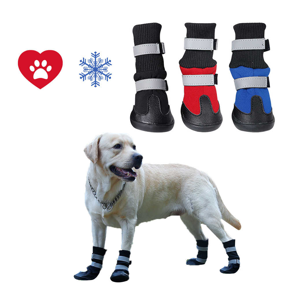 4 Uds. Botas para perros de invierno calientes zapatos de algodón para perros impermeables antideslizantes para perros de tamaño mediano Golden