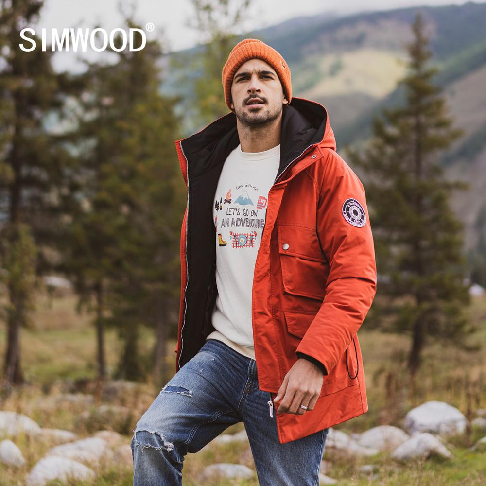 SIMWOOD 2019 Winter New 90% White Duck Down Coats Men Multi-pockets Hooded Warm Jackets High Quality Plus Size Coats SI980618