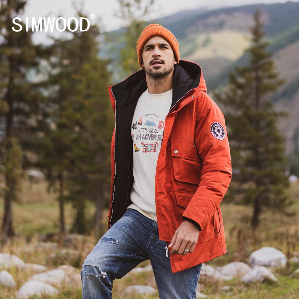 SIMWOOD 2019 hiver nouveau 90% blanc canard vers le bas manteaux hommes multi poches à capuche chaud vestes de haute qualité grande taille manteaux SI980618