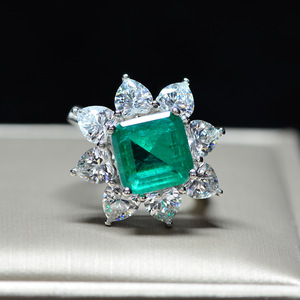Image 3 - PANSYSEN Exquisite Luxury 10MM Square Emerald Rings for Women Female Anniversary Cocktail Party Ring Diamond Fine Jewelry Gifts