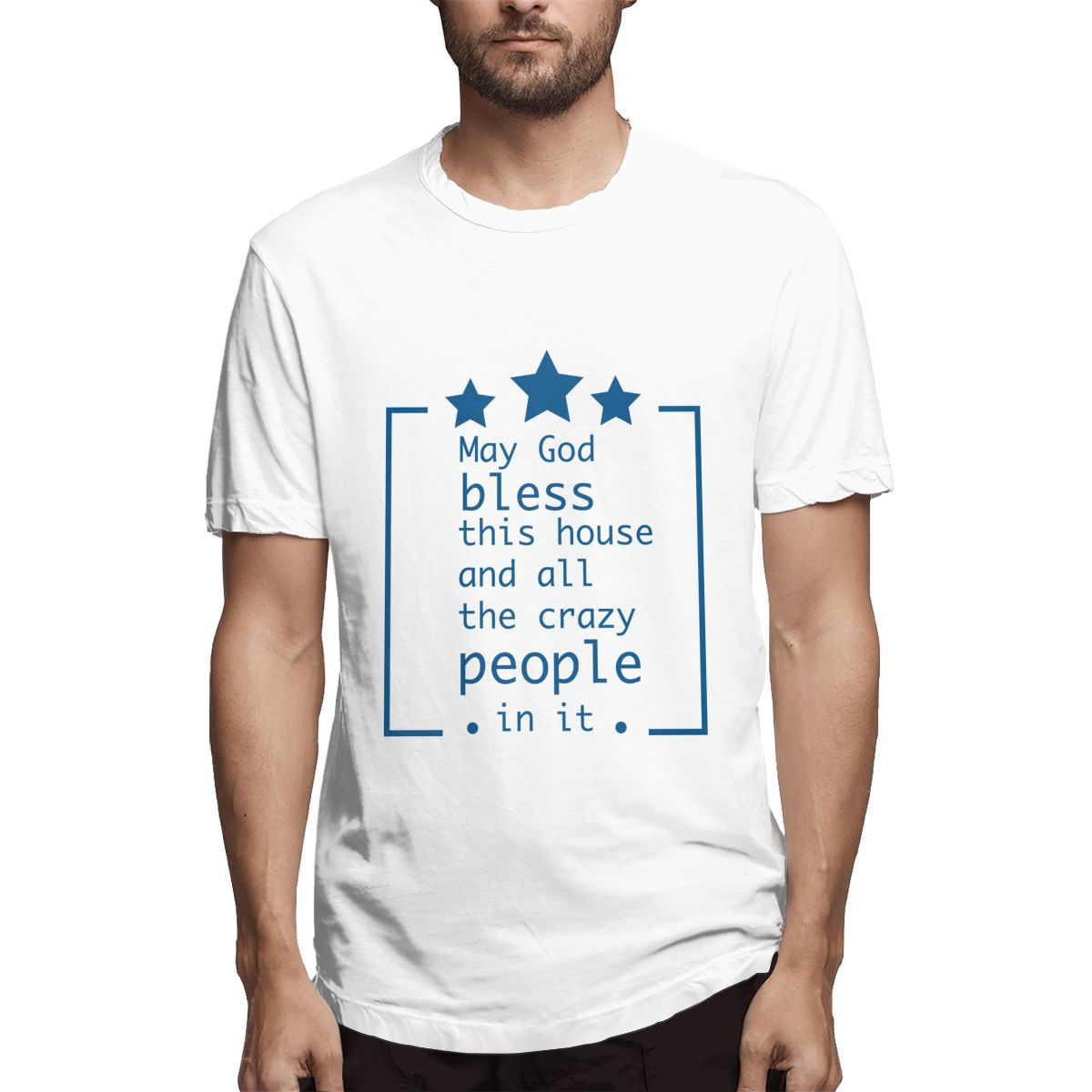 2020 New Tshirt Men t-shirt May God Bless This House And All The Crazy People In It T shirt Summer Tops image