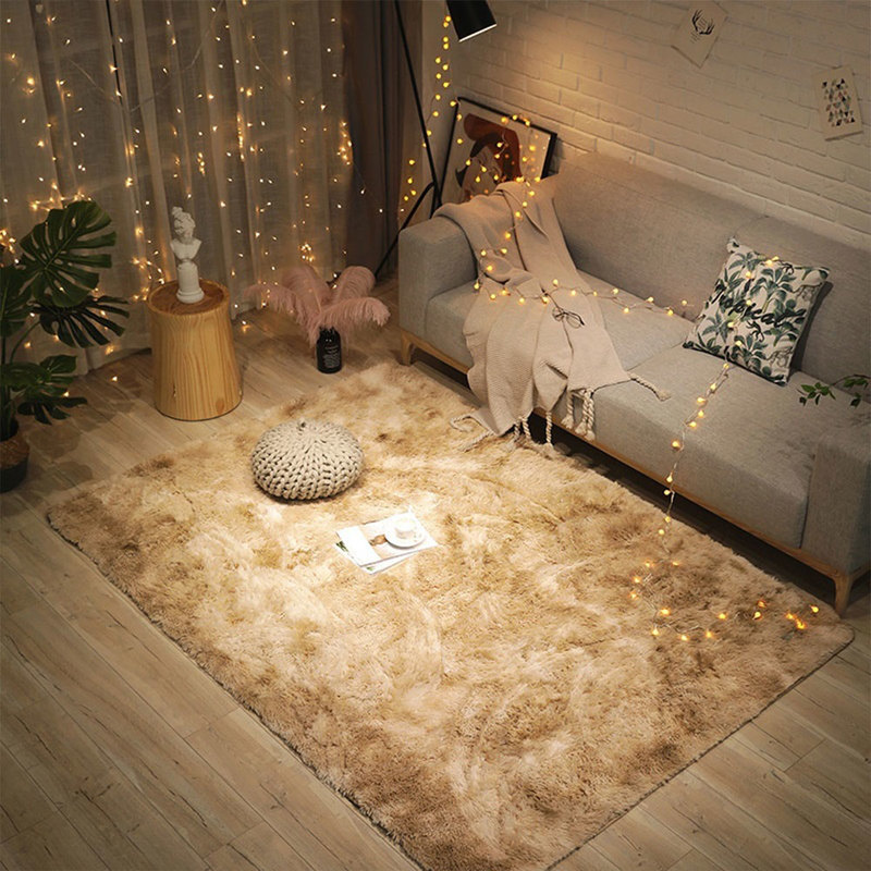 Europe Plush Carpet For Bedroom Bedside Living Room Thick Rug Carpets Solid Color Soft Anti-slip Area Floor Mat Rugs 1.2X1.6M