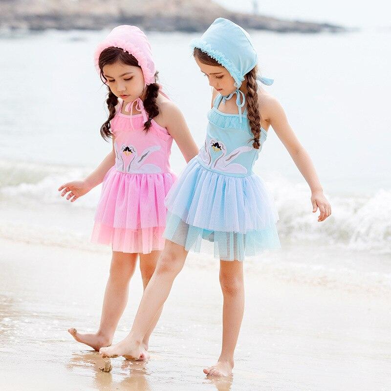 2019 Xiqi New Style KID'S Swimwear Swan One-piece Swimming Suit Girls Princess Skirt Mesh Dress Bathing Suit Cute