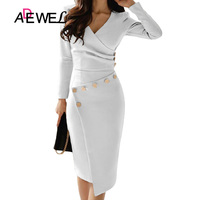 ADEWEL Button Detail White Ruched Bodycon Office Work Dress Women Long Sleeve V Neck Party Midi Gown Dress