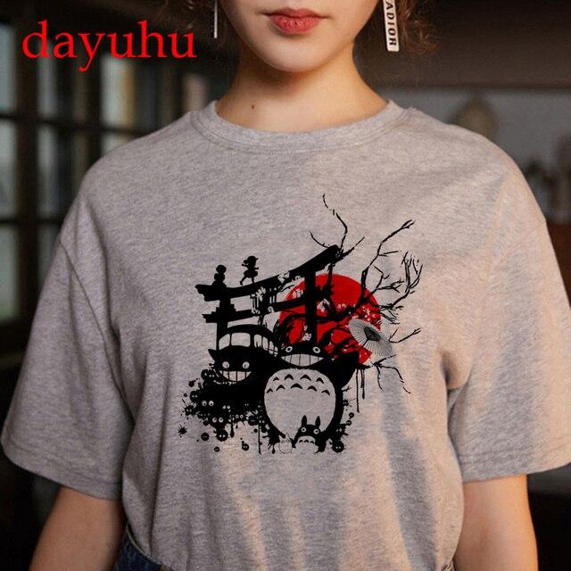Totoro Studio Ghibli Harajuku Kawaii T Shirt Women Ullzang spirited away Tshirt Funny Cartoon T-shirt Cute Anime Top Tee Female 4