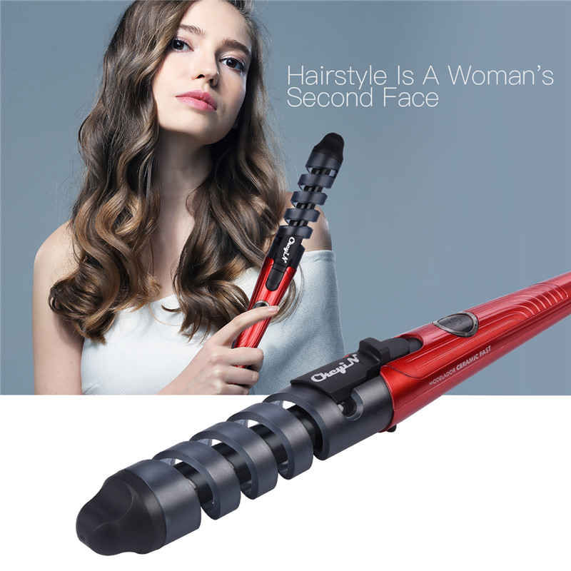 2019 Black Red Electric Magic Hair Styling Tool Rizador De Pelo Rizador de pelo Roller Pro Spiral Curling Iron Wand Curl Styler HS10