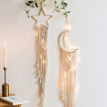 Moon And Star Macrame Wall Hanging Tapestry Boho Wall Decor Macrame Deco Pared Handmade Kids Girls Room Decoration Gift 48h