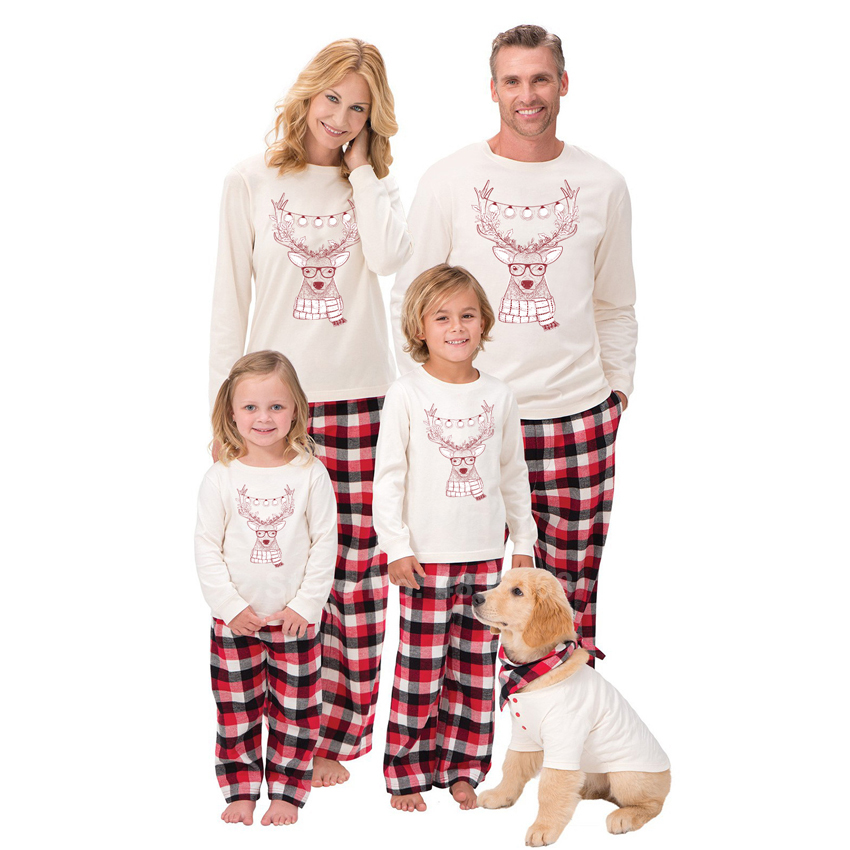 2020 Xmas Eve Pajamas For Family Cartoon Reindeer Cute Top+trousers Set Christmas Mummy And Me Father Son PJs Sleepwear Gift