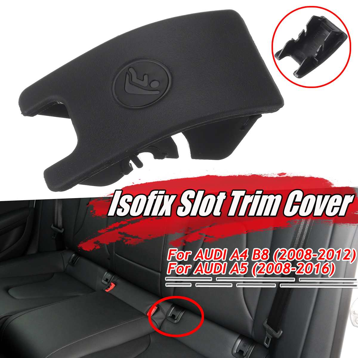 Black/Grey Car Rear Child Seat Safety Anchor Isofix Slot Trim Cover For AUDI A4 B8 A5 8T0887187 Car ISOFiX Cover Child Restraint