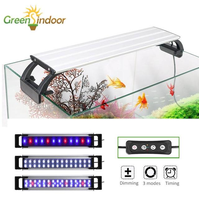 Lampe lumineuse pour Aquarium, avec minuterie et intensité réglable, luminaire décoratif dintérieur pour plantes aquatiques, rvb, LED, 20-65CM, Led